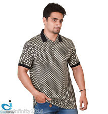 NWT Mens Stylish Printed Abstract Polo T Shirt
