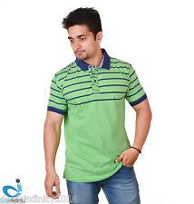 Mens Denim Broadway Striped Collar Neck- (Green)