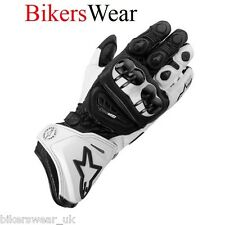 New Alpinestars GP Pro Motorcycle Leather Kevlar Tech Gloves Black / White Size