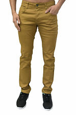 Mens Designer Skinny Slim Fit Tan Stretch Chinos Trousers Jeans Pants