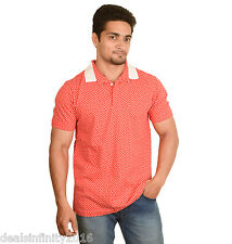 NWT Mens Printed Polo Neck T-shirt With Contrast Collar. (Red)