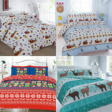 CHRISTMAS XMAS SANTA SNOWMAN DUVET COVER SET WITH PILLOW CASES BEDDING