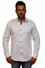 UCB (United Colors Of Benetton) White Solid Full Sleeves Men's Shirt