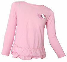 Hello Kitty Niña Rosa Top De Manga Larga Ageds 18M, 2Y, 3Y, 4Y or 5 Años