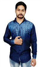 Men's Casual shirt in Solid Blue Pattern 100% Authentic Cotton Shirt. Perfect