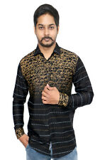 Men's Casual shirt in Solid Black Golden Pattern 100% Authentic Cotton Shirt.