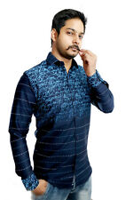 Men's Casual shirt in Solid Blue 100% Authentic Cotton Shirt. Start Your Day....