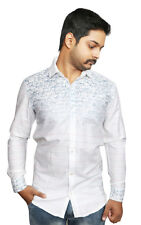 Men's Casual Shirt in White Printed 100% Authentic Cotton Shirt. Stand Away.....