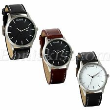 Men's Simple Casual Big Scale Dial Leather Strap Date Quartz Wrist Watch Watches