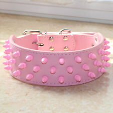 Pink Spiked Studded Dog Collar Leather Collar for Pit Bull Bully Terrier