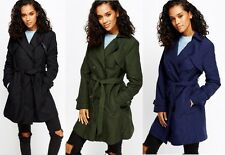 New Ladies Fashion Trench Coat Mac Blue Black Green Button Up Jacket ***SALE***