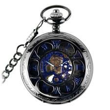 Orologio da Tasca Meccanico Steampunk Retrò con Catena Hand-Wind Up Regalo