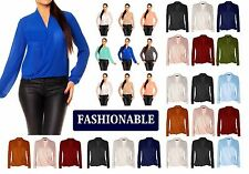 Womens Ladies Long Sleeve Blouse Chiffon V Neck Wrap Front T Shirt Work Top wrkL