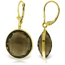 Genuine 34 ctw Smoky Quartz Gemstones Solitaire Dangle Earrings 14K. Solid  Gold