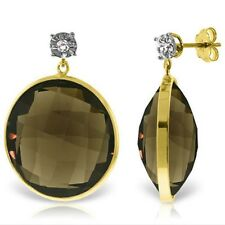 Genuine Smoky Quartz Gemstones & Diamonds Dangle Studs Earrings 14K. Solid  Gold