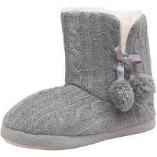 Womens Girls New Firetrap Cable Knit Winter Cosy Slippers Faux Fur Boots UK 3- 8
