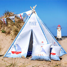 Personalised Children's Kids Teepee Wigwam Indoor Tipi Play Tent Sailing Boats