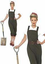 1940s WW2 Land Girl Ladies Fancy Dress Costume World War 2 40s Wartime Worker