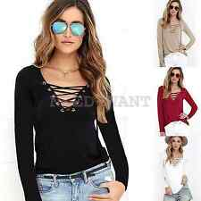 Sexy Women V-Neck Lace Up T-Shirt Ladies Casual Long Sleeve Tops Blouse UK 6-18