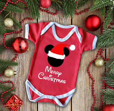 Disney Mickey mouse inspired baby's Merry Christmas  inspired red baby grow vest