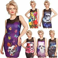 Cold Heart Ladies Bodycon Rayon Dress Goth Cosplay Skull Prints