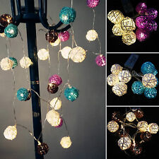 10/20LED Battery Operated Wicker Rattan Balls Party Wedding String Fairy Lights