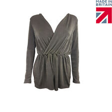 Slinky chocolate Wrap Front Long Sleeve Playsuit Size UK 8-14