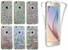 360° Silicone Glitter Camoflauge Leopard Skin Phone Case Cover For Apple iPhone