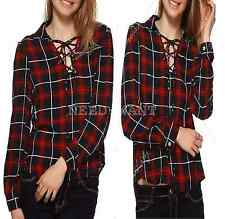 Women V-Neck Lace Up T-Shirt Ladies Plaid Check Long Sleeve Tops Blouse UK 6-16