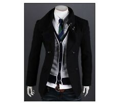 Mens Stylish Double Breasted Button Up SlimFit Jacket Casual Coat- US Seller