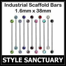 Surgical Steel Industrial Scaffold Bar Ear Piercing Barbell Crystal 38mm x 1.6mm