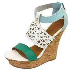 LADIES DOLCIS WHITE CORK WEDGES PLATFORM SANDALS PEEP-TOE STRAPPY SHOES UK 3-8