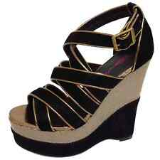LADIES DOLCIS BLACK WEDGES PLATFORM SANDALS PEEP-TOE STRAPPY EVENING SHOES