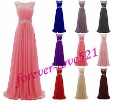 Long Chiffon and Lace Formal Evening Gown Party Prom Bridesmaid Dress Size 6-18+