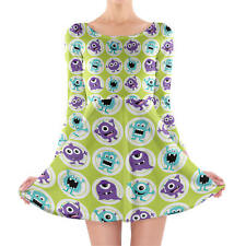Funny Monsters Longsleeve Skater Dress XS-3XL All-Over-Print