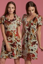 Stylish Unique Women's Tunic Dress Round Neck&Cowl Neck With Branch Printed