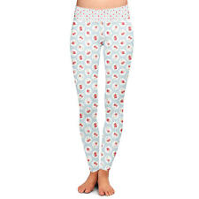 Shabby Chic Florals on Blue Yoga Leggings Low Rise Full Length XS-3XL
