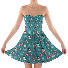Snowmen and Candy Canes Sweetheart Strapless Skater Dress