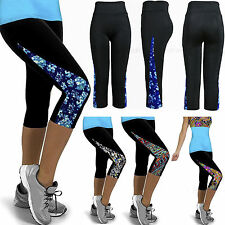 Women Yoga Running Cropped Pants Floral Print Leggings Fitness Exercise Trousers