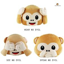 Emoji Emoticon Hear No Evil/Speak No Evil/See No Evil Monkey Cushion Soft Toy