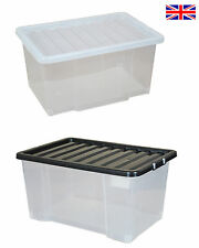 Multipacks of 50 Litre Large Plastic Storage Boxes with Lids! New & Improved Box
