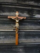 Vintage Wood Crucifix Brass Jesus Christ INRI Made In Germany