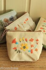 SUMMER FLOWERS Linen Coin Purse kawaii fabric pouch wallet makeup accessory bag