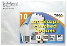 A3 Landscape Punched Pockets (90 micron) - Ring Binder Sleeves Wallets