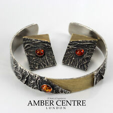 Beautiful Amber Earrings and Bangle Set Sterling Silver with 14ct Gold Plating