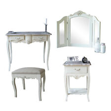 Cream Wooden Bedroom Set Dressing Table Mirror Stool Bedside Shabby French Chic