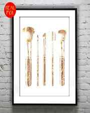 Gold foil print make up brushes coco chanel Metallic foil art