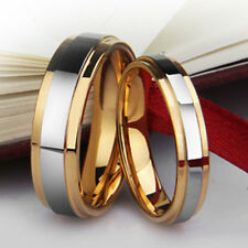 Tungster Carbide Silver Gold His/Hers Mens Wedding Ring New UK R022