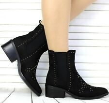 NEW LADIES BLACK FAUX SUEDE MID BLOCK HEEL PULL-ON ANKLE BOOTS SHOES BOOTIES 3-8