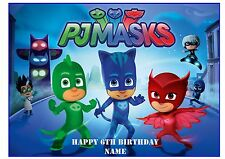 PJ MASK  A4 EDIBLE PARTY CAKE TOPPER ICING SHEET RICE PAPER WAFER CARD